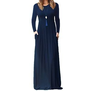 Long sleeve maxi dress with pockets- Navy