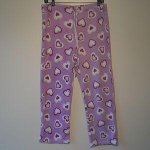 Fuzzy pink heart pajama pants with drawstring