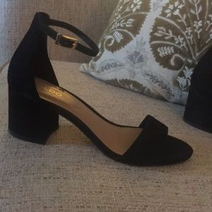 Aldo Chunky Suede Ankle Strap Heels / Sandals