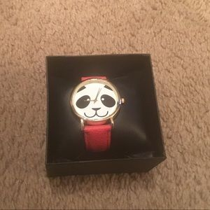 *New!* Faux red leather panda watch