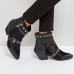 Leather Stud Strap Booties w Faux Pony Hair