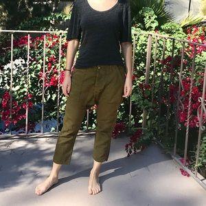 Army green drop-crotch pants