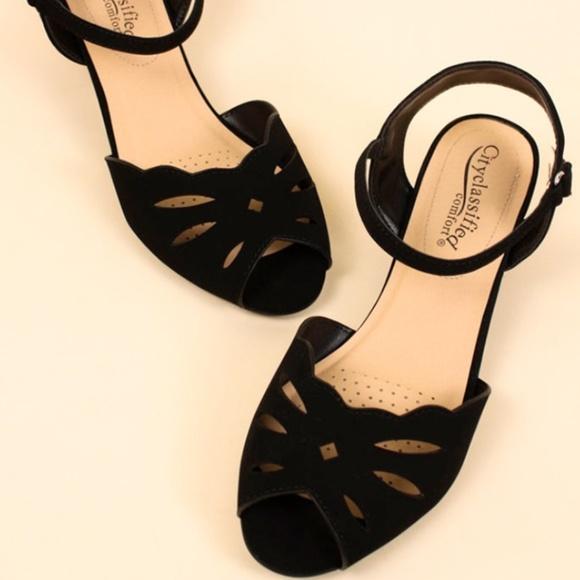 aafc3b41942 Butterfly Laser Cut Peep Toe Low Wedge Sandals