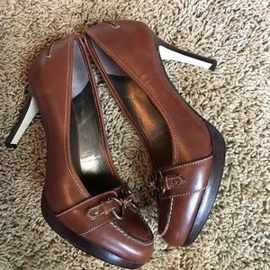 Talbots Shoes - Talbots Brown leather heeled loafers sz 6.5