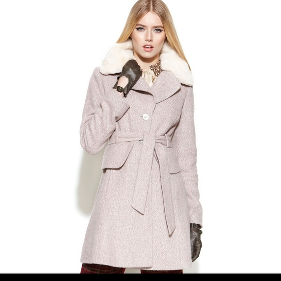 NWT Jessica Simpson Tweed Belted Faux Fur Coat NWT