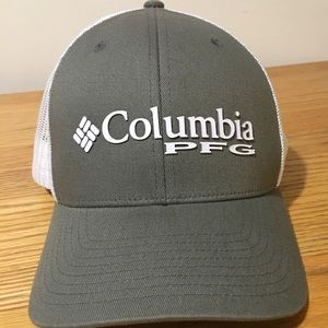Columbia PFG Fishing Hat Grey White Snapback