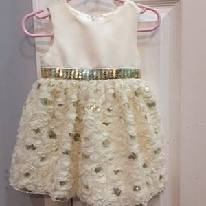 Cream and gold baby holiday dress
