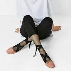 Zara lace up ballet flat in nude