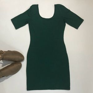 Forever 21 green body cone low scoop neck dress
