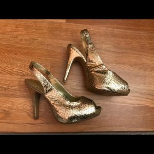 Gold open-toe heels