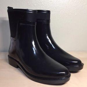 ZARA Black Rubber Casual Mid Rain Boots Sz 38