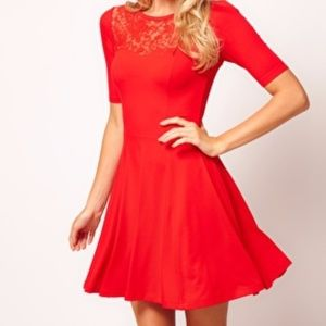 Red Lacy ASOS Dress, Size 4