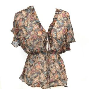 Anthropologie Semi Sheer Medium Paisley Blouse Top