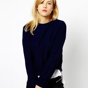 Free People navy blue crop sweater