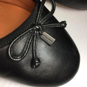 Coach Lola Leather Ballet Bow Flats Black