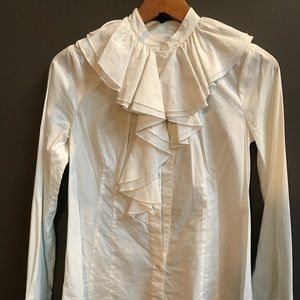 White Ruffled Neck Long Sleeve Button Down