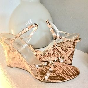 AUTH Dolce & Gabbana Python Jeweled Wedge Shoes 40