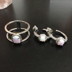 Jewelry - Genuine Opal, Sterling Silver Ring (7) & Earrings