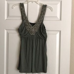 Green dressy tank with great details