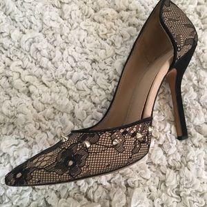 Zara Black Lace Studded D'orsay Heels