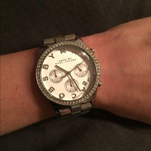 Marc Jacobs Silver Crystal Rimmed Statement Watch