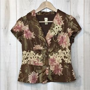 Lithe Anthropologie Floral Short Sleeve Blazer