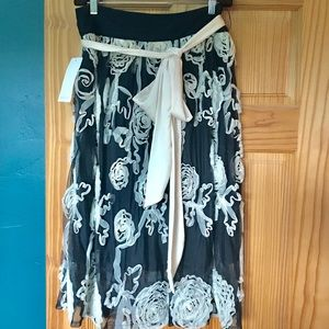 Black Floral Midi Skirt, DownEast New