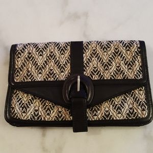 TOPSHOP Raffia and faux leather clutch
