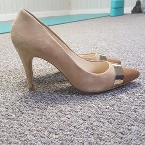 Tan Suede Gold Leather Heels