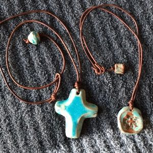 Two Pottery Piece Necklaces with Crosses on each