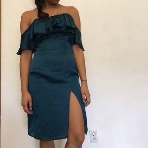 Lovers + Friends Satin ruffle dress