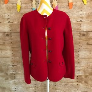 Lands end red wolle cardigan jacket
