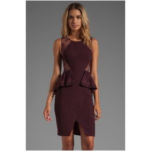 BCBG Maxazria Burgundy Lace Whitley Dress 4P