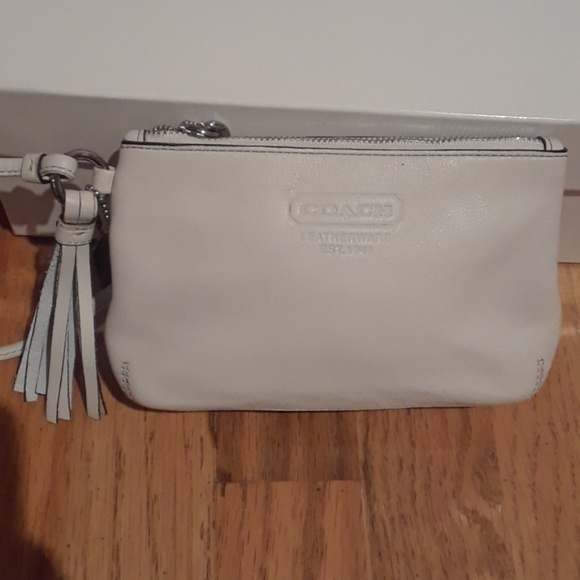 Coach Handbags - Coach White Leather Wristlet