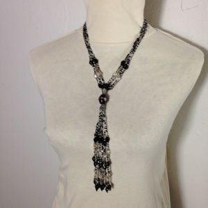Black and white lasso style necklace