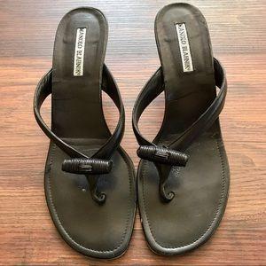 Manolo Blahnik Kitten Heel Thong Sandals