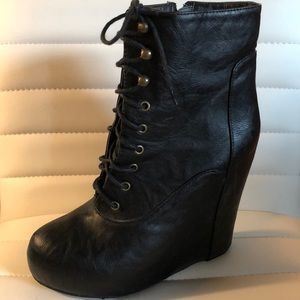 Faux Leather Black Lace-up Wedge Heel Booties