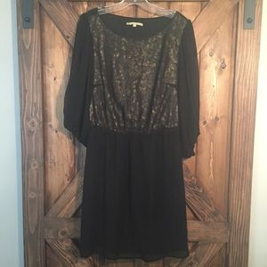 Gianni Bini Sheer Black & Gold Dress
