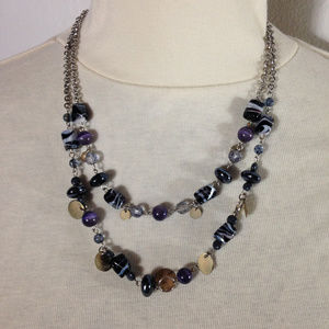 Navy glass bead necklace.