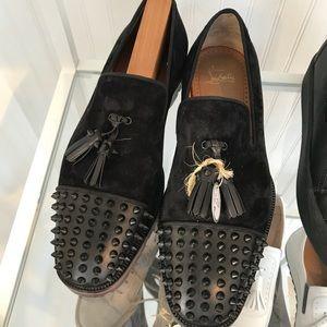 Black Studded Louboutin Men Shoes