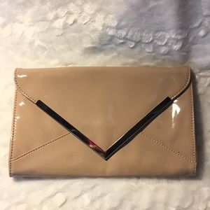 Patent Leather Nude Clutch