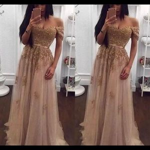 Lace beaded Arabic off the shoulder evening dress