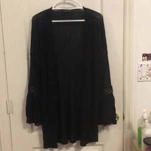 NWOT black knit cardigan with lace sleeves