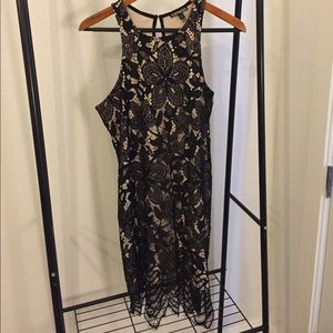Black Lace with Nude under Lining LBD