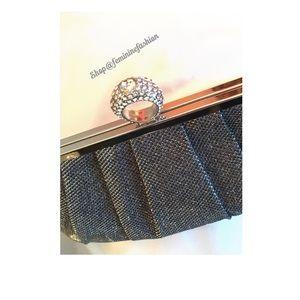 Gray/Silver Evening Bag/Clutch w/ Rhinestone Clasp