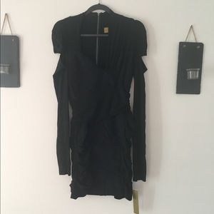 NWT - NICOLE MILLER black rouged dress