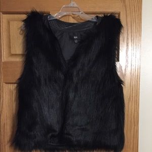 Faux leather and faux fur super cozy black vest