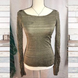 Bebe Women's Silver Sage🕊 Long Sleeve Top