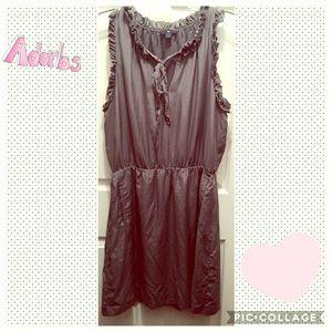 Gray sleeveless dress with ruffle trim & pockets