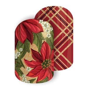 Jamberry Nail Wraps Red Tinsel Poinsetta NEW